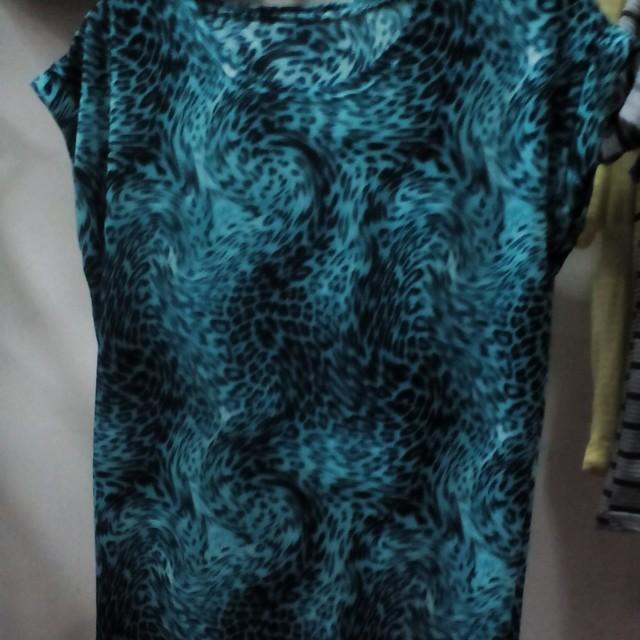 T shirt loreng biru free ongkir