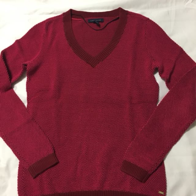 Tommy Hilfiger pink long sleeve sweater