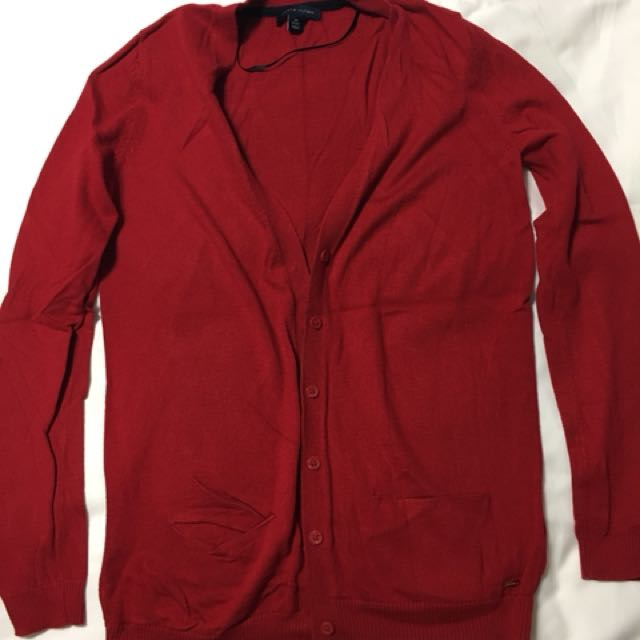 Tommy Hilfiger red long sleeve cardigan