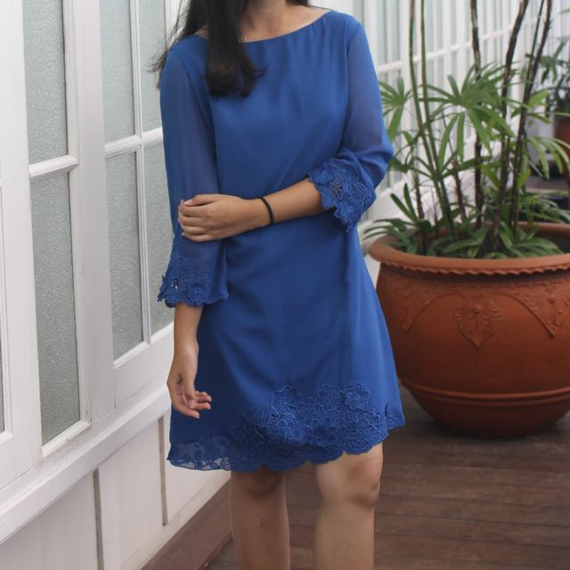 Topshop Blue Long Sleeve Embroidered Dress