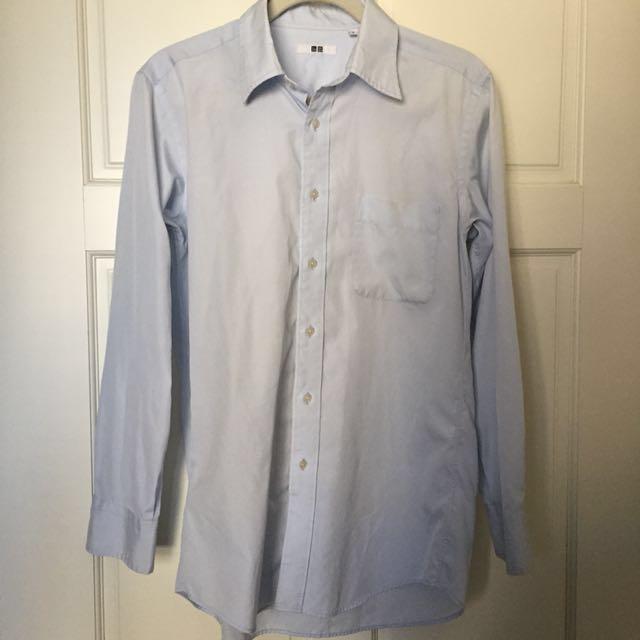 Uniqlo 防皺 襯衫 水藍 M 正裝 #我有Uniqlo要賣