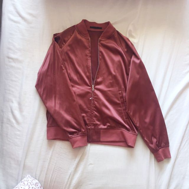 719744bcc Uniqlo rose pink satin bomber jacket, Women's Fashion, Clothes ...