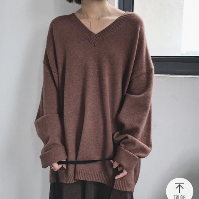 咖啡V領寬鬆長版針織毛衣