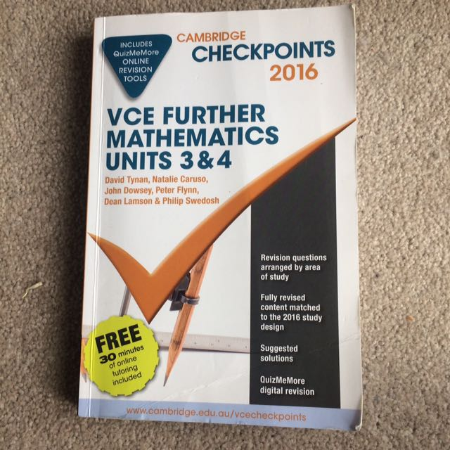 VCE Further maths unit 3&4 checkpoints
