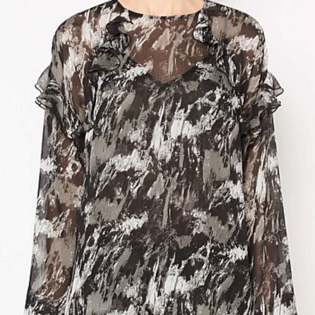 Witchery shirt femme camo blouse anthracite