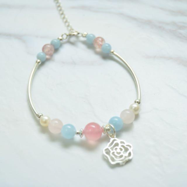 「高加索的玫瑰」粉晶x海水藍寶x純銀手作手環