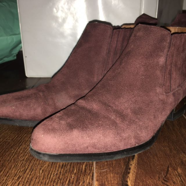 ZARA BURGUNDY ANKLE BOOTIES 7.5