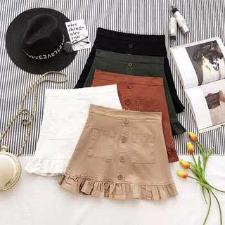 Button Ruffle Hem Skirt