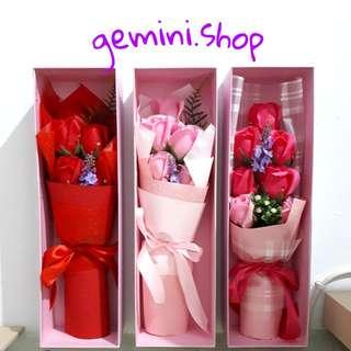 bunga mawar sabun 5 pcs + kartu ucapan ( valentine , ulang tahun , wisuda ) barang import murah