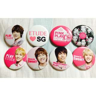 SHINee Etude House Pink Play Party Badges