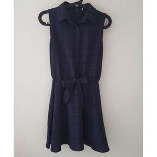 Navy Checkered Collared Dress