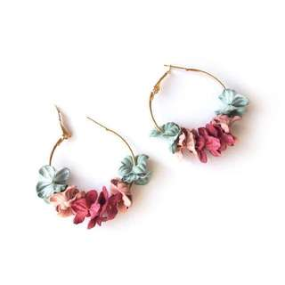 Flower Hoop Earrings (Multi colour)