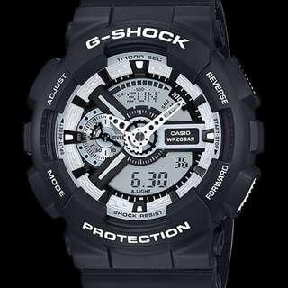 深水步有門市全新正版正貨1年保養 7日有壞包換 CASIO G-SHOCK GA-110BW-1A