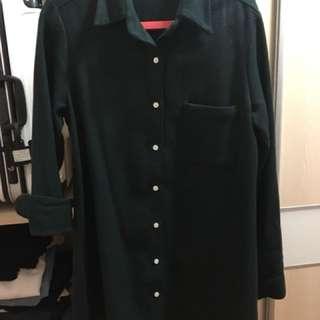 🚚 Vieso厚板法蘭絨長版襯衫/洋裝