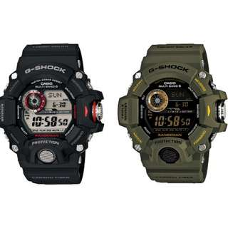 深水步有門市全新正版正貨1年保養 CASIO G-SHOCK GW-9400-1D,3D 電波 新款 黑色 綠色 現貨