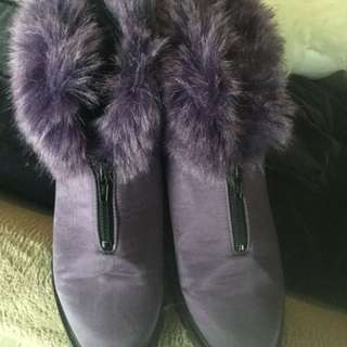 Fur Trim Ankle Boots By Linda Lundstrom