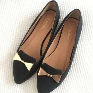 Size 36 black and gold Zalora flats