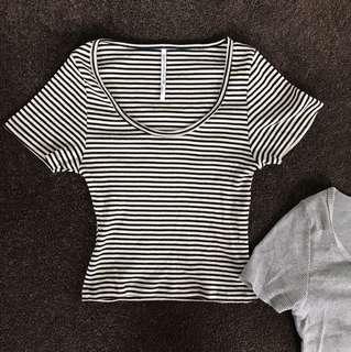 Striped crop tee
