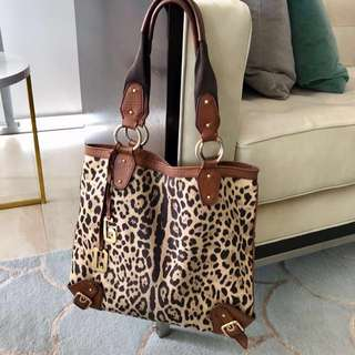 Dolce & Gabbana vintage 90s tote - leopard canvas and brown leather