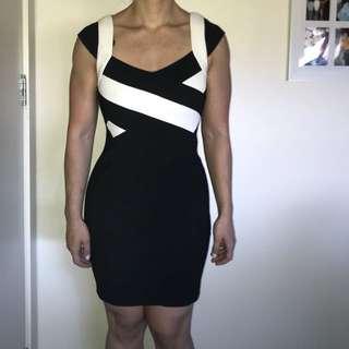 BNWT Bodycon white and black dress