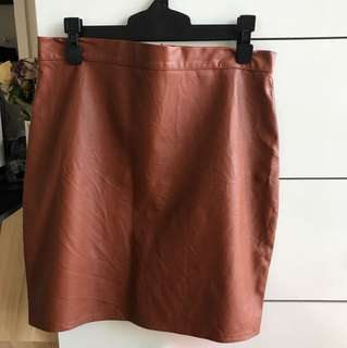 Misguided leather brown skirt