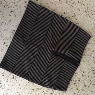 Black & Grey Stripped Mini Skirt