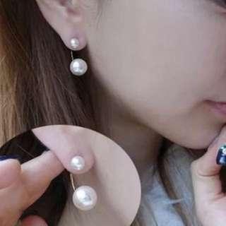 🚚 日韓流行耳環 雙珍珠款
