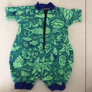 Green and blue one piece swimwear