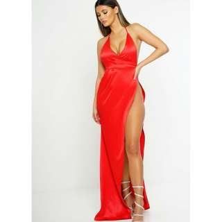 Red formal dress with side split - size XS (6-8) Renting/Selling