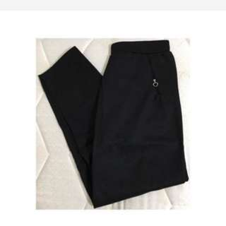 免運/全新彈性鬆緊腰寬鬆長褲(黑色)