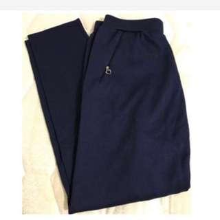 免運/深藍色彈性寬鬆腰長褲