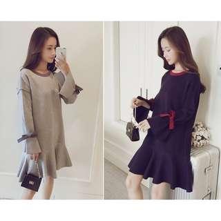 🚚 【預購】蝴蝶結綁袖針織毛衣裙(XL~4XL)