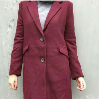 Long Jacket Maroon Korea