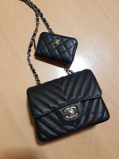 Chanel premium grade inspired : square mini caviar leather Chevron SHW
