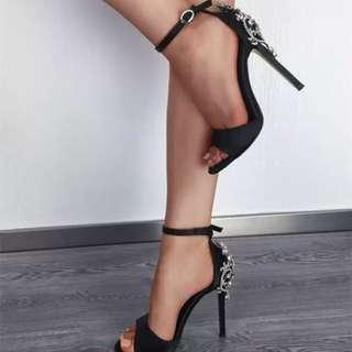 「新品推薦」歐美時尚百搭魚口水鑽高跟涼鞋