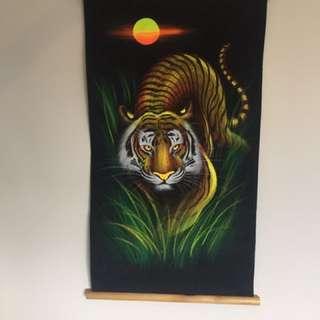 Thai tiger painting on black