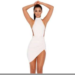 RUCHED AND READY HALTER NECK MINI DRESS IN OYSTER WHITE