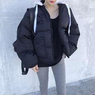 🚚 韓國 chic復古休閒百搭拼色帽子學生麵包服外套 寬松短款加厚棉衣