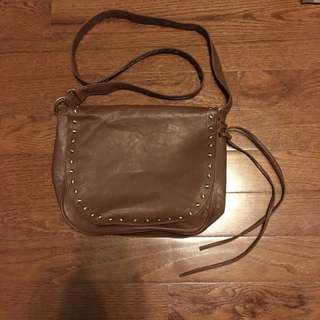 Brown synthetic leather cross body bag