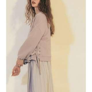 全新! Pazzo微膨袖蝴蝶結緞帶刷毛上衣