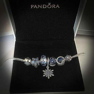 pirce negotiable-Pandora Silver Bracelet (18) 14k lock with charm
