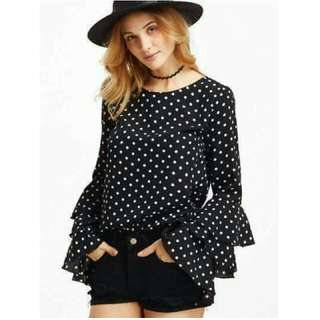 🎆 New! Sale Price!  🎉 New Year OOTD Fashion   Php370 only  ELEGANT BLACK POLKA RUFFLES BLOUSE  📍Freesize: Fits Small to Semi Large  📍1 color  📍Pre-order