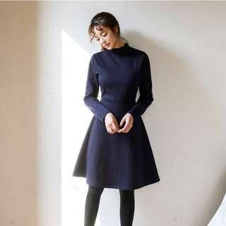 全新 韓國 cherrykoko 深藍連身裙