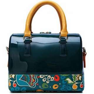Venuco Madrid brand bag (dark jelly green + colourful flower print)