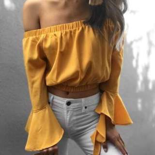 TIGERMIST Yellow Frill Sleeve Off The Shoulder Top