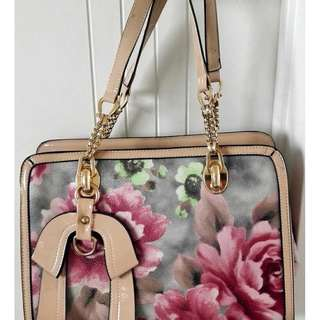 Beautiful beige + grey floral bag (strap inc)