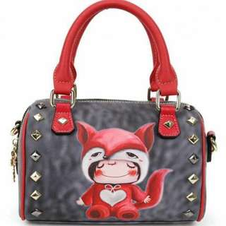 Cute Stephy brand bag (dark grey & red)