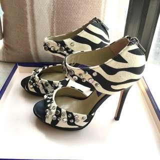 Jimmy Choo  x  H&M   printed suede heel platform sandals shoes     @Size : 36