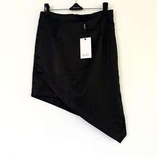 Bardot RRP $89.95 Black Split Asymmetrical Side Skirt