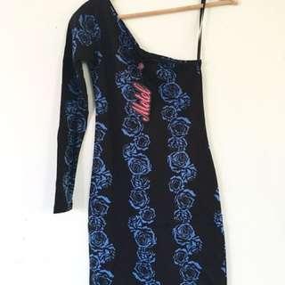 Blue Rose One Shoulder Dress
